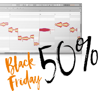【セール】Celemony社は定番のピッチ補正ソフト「Melodyne 5 essential」のブラックフライデーセールを開催中!50%オフ!【DTM/エフェクトプラグイン】